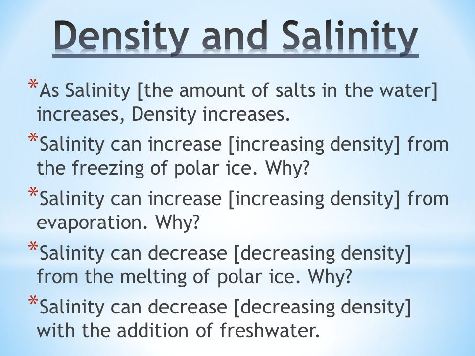 what is the relationship between salinity and density of ocean water